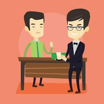 Uomo d'affari incorrotto che rifiuta di prendere la bustarella.