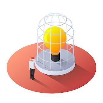Uomo d'affari isometrico 3d che sta con la lampadina della luce incandescente nella gabbia