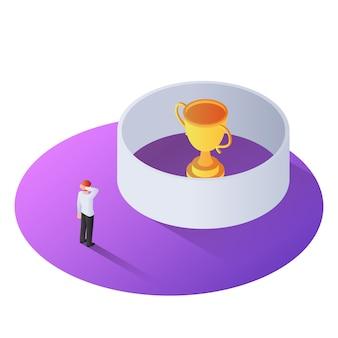 Uomo d'affari isometrico 3d che sta davanti al trofeo del vincitore nella parete
