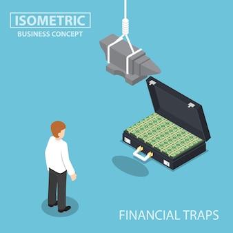Uomo d'affari isometrico che cerca di valigia piena di soldi con l'incudine sopra la sua testa