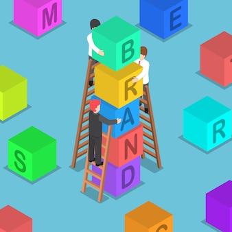 Uomo d'affari isometrico che costruisce il blocco di marchio