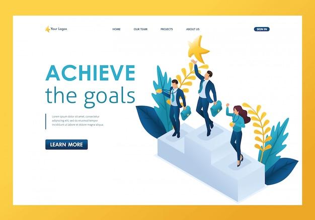 Uomo d'affari isometrico che raggiunge per un sogno, raggiungendo gli obiettivi, vincendo la pagina di destinazione di successo