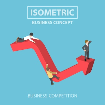 Uomo d'affari isometrico si arrampica fino alla cima del grafico
