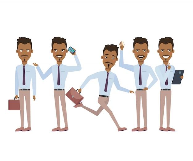 Uomo d'affari ispanico nel carattere di fretta impostato con diverse pose