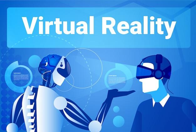 Uomo d'affari nella realtà virtuale che utilizza l'uomo moderno del robot nel concetto degli occhiali di protezione di vr