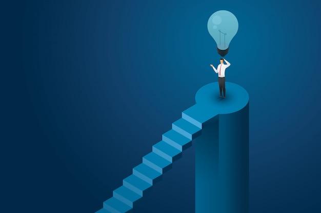 Uomo d'affari nessuna idea in piedi sotto la lampadina spenta e non pensare soluzione creativa. illustrazione isometrica piatta