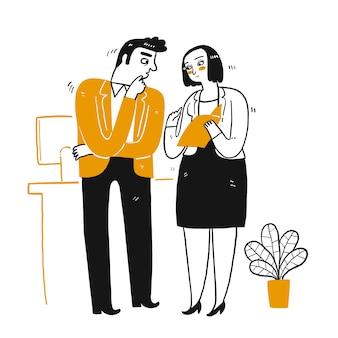 Uomo d'affari o dipendente e collega parlano di affari. disegno a mano linea stile doodle arte isolato su bianco