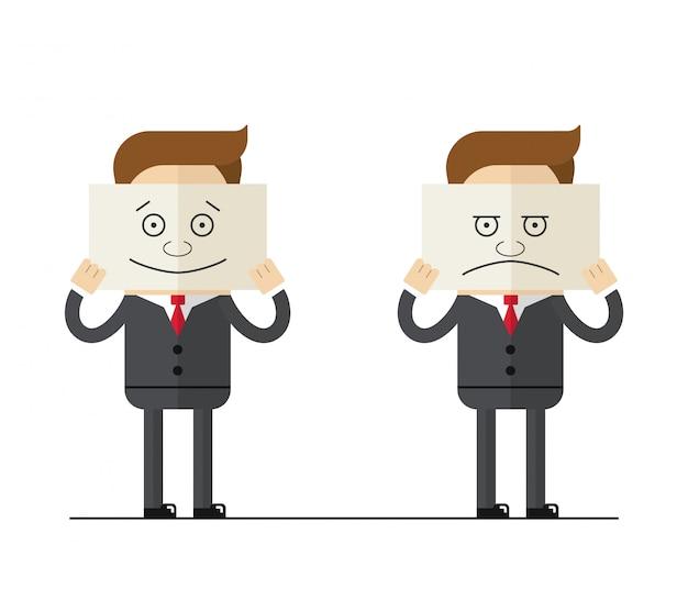 Uomo d'affari o manager detiene un piatto con emozioni dipinte. sorriso e tristezza