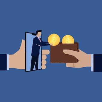 Uomo d'affari paga ricompensa online dal telefono al portafoglio.