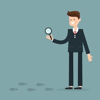 Uomo d'affari per indagare impronte sospette