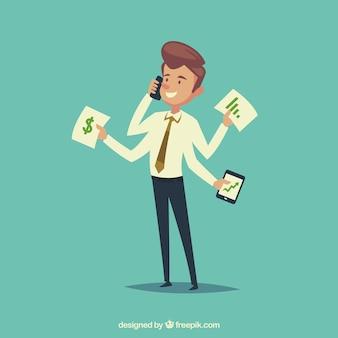 Uomo d'affari piacevole multitasking