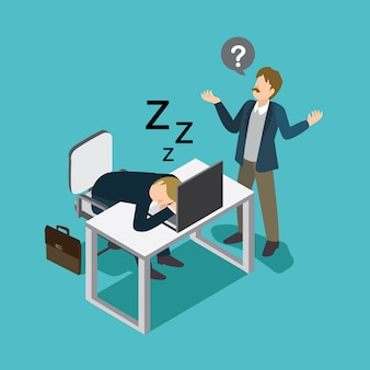 Uomo d'affari pigro che dorme