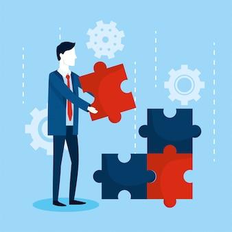 Uomo d'affari professionale con analisi di puzzle e ingranaggi