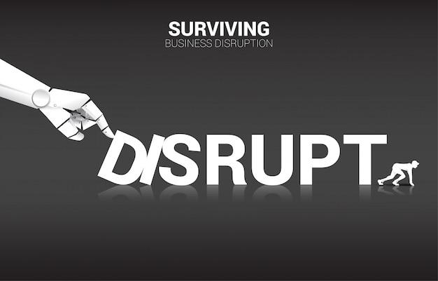 Uomo d'affari pronto a scappare dall'effetto domino dalla mano del robot, interrompere lo sfondo