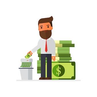 Uomo d'affari ricco che trita soldi