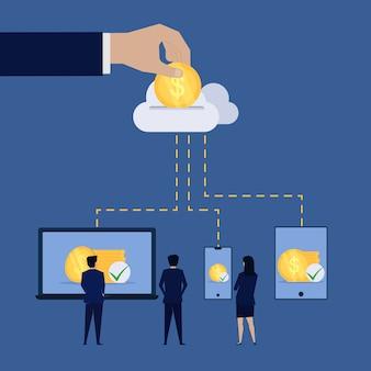 Uomo d'affari risparmiando online dal cloud online al dispositivo.