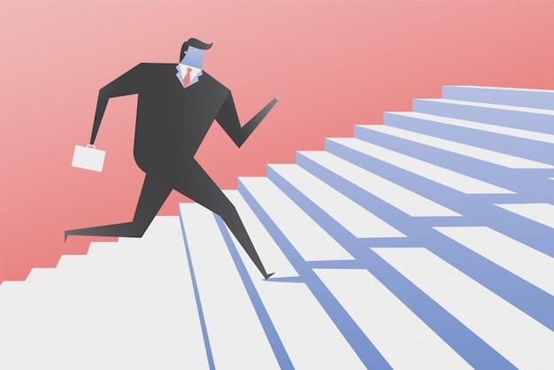 Uomo d'affari run up the stairs.