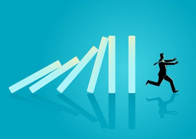 Uomo d'affari scappando dall'effetto domino