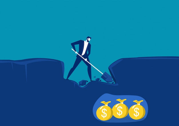 Uomo d'affari scavare con pala e molto vicino al successo con denaro oro sotto terra. illustrazione vettoriale concettuale