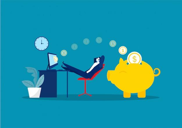 Uomo d'affari seduto, rilassarsi e fare soldi passivamente. finanza, investimenti, ricchezza, reddito passivo. concetto di ufficio di lavoro