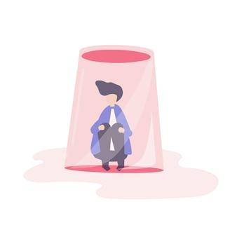 Uomo d'affari sentirsi piccola e intrappolata illustrazione