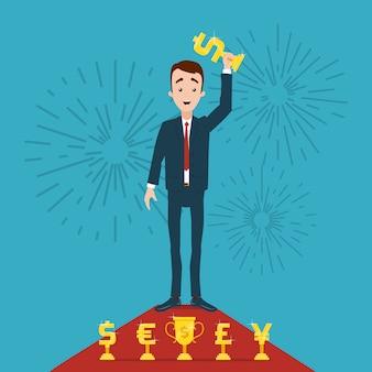 Uomo d'affari si erge sul tappeto rosso e detiene il premio d'oro in mano. saluto in