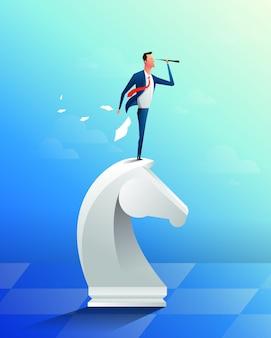 Uomo d'affari sopra il pezzo degli scacchi del cavallo facendo uso del telescopio che cerca successo, opportunità, tendenze future di affari. concetto di strategia aziendale di successo. illustrazione del fumetto