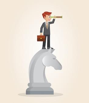 Uomo d'affari sopra il pezzo degli scacchi del cavallo facendo uso del telescopio che cerca successo.