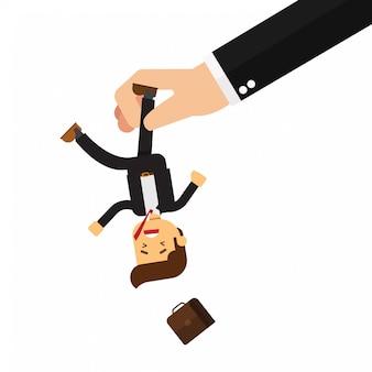 Uomo d'affari spremuto dalla mano del capo nella punizione