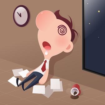 Uomo d'affari stanco dormire in ufficio.