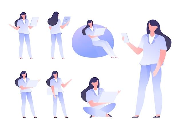 Uomo d'affari startup male female flat style di progettazione dell'ufficio stabilito di progettazione di carattere
