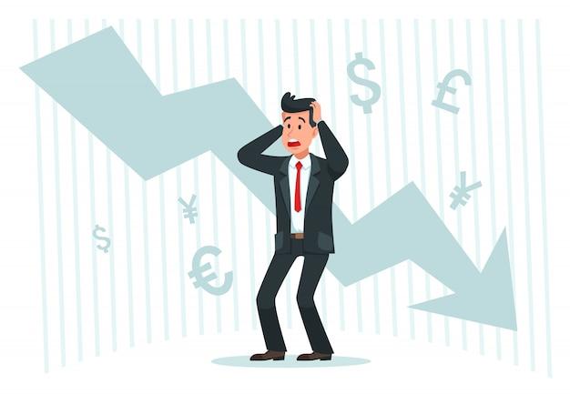 Uomo d'affari stressante. profitti di caduta, grafico del grafico della freccia giù e illustrazione di vettore di caduta di finanza in bancarotta