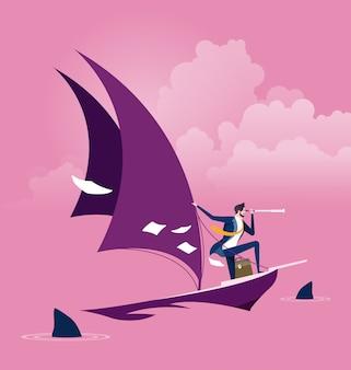 Uomo d'affari su una barca a vela con gli squali intorno