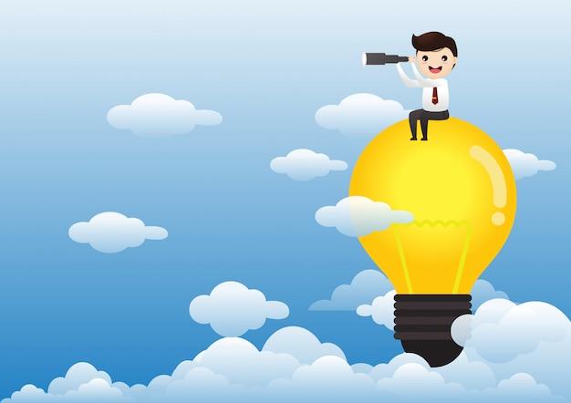 Uomo d'affari sul concetto di idea