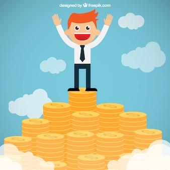 Uomo d'affari sulla cima di una montagna di denaro
