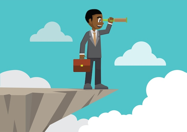 Uomo d'affari sulla montagna del bordo della scogliera usando lo sguardo del telescopio.