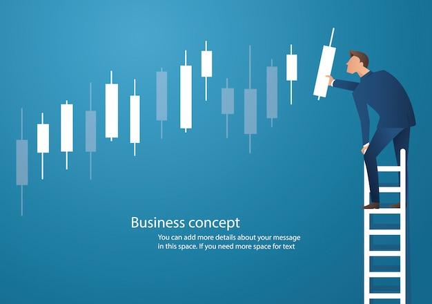 Uomo d'affari sulla scala con il fondo del grafico del candeliere