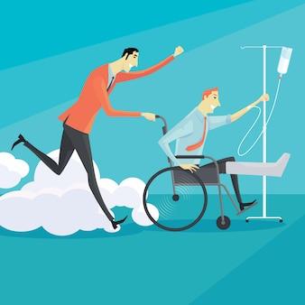 Uomo d'affari sulla sedia a rotelle di un ferito