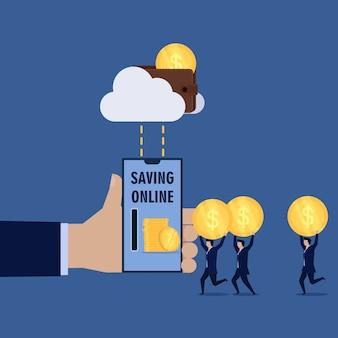 Uomo d'affari tenere moneta dollaro per risparmiare denaro online.