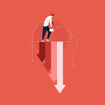 Uomo d'affari triste con grafico che cade, perdita di affari, crisi economica, crollo del mercato azionario