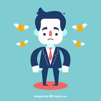 Uomo d'affari triste senza soldi