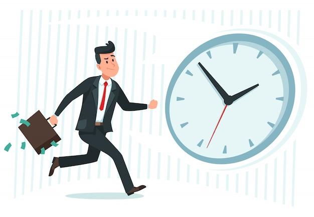 Uomo d'affari trova idea. l'operaio confuso di affari si domanda e trova la soluzione o ha risolto l'illustrazione di vettore del fumetto di problema