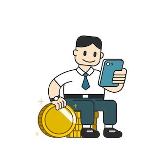 Uomo d'affari utilizzando smartphone con una grande pila di monete