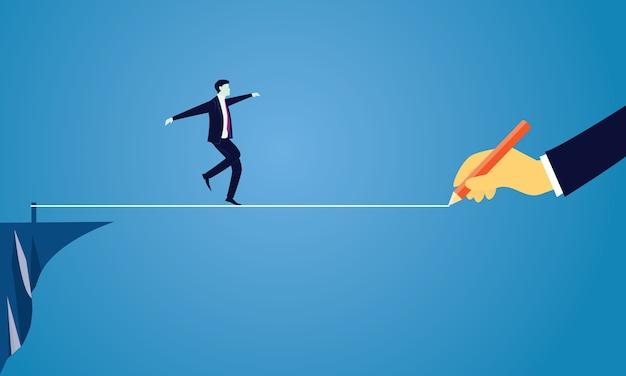 Uomo d'affari walking on rope. sfida di rischio nel concetto di affari