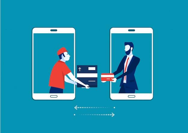 Uomo dallo schermo dello smartphone che invia la scatola di cartone con il negozio di paga del cliente dalla carta, concetto di servizio di consegna. design piatto di illustrazione. servizio di spedizione.