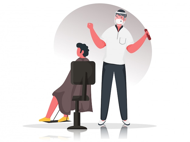 Uomo del barbiere che indossa una maschera protettiva con visiera e cliente seduto su una sedia per evitare il coronavirus.