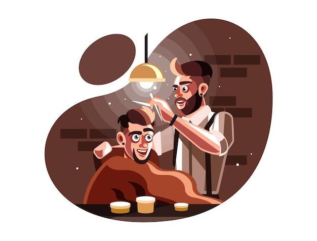 Uomo del barbiere che serve il cliente al negozio di barbiere