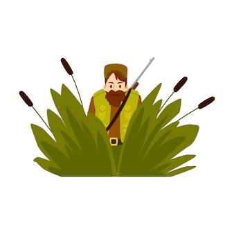 Uomo del cacciatore in un'imboscata con l'illustrazione piana di vettore del fucile isolata su bianco.