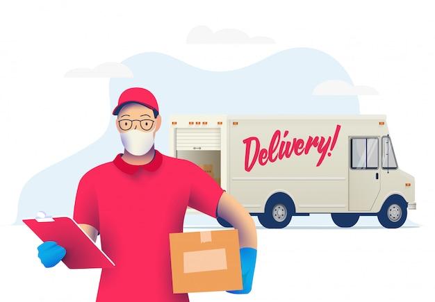 Uomo del corriere di consegna con la maschera protettiva medica sul suo pacchetto della tenuta del fronte con il camion di consegna. consegna durante il periodo di quarantena. .
