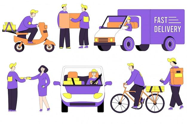 Uomo del corriere di consegna della pizza con la scatola sull'illustrazione della persona del fumetto della posta di servizio commerciale isolata su bianco.